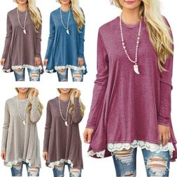 2018 New Womens Long Sleeve Blouse Lace Hem Tunic Loose Tops