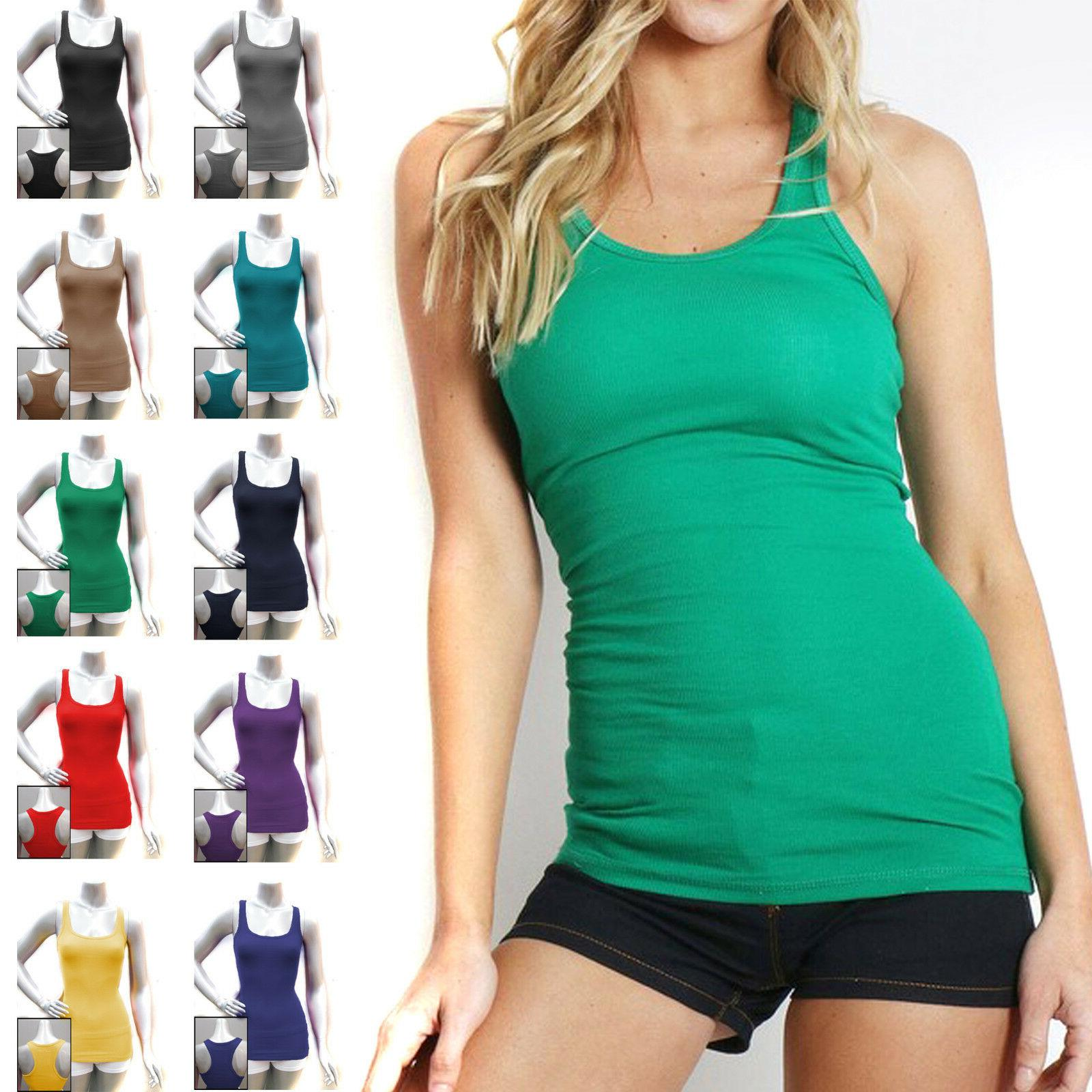 cotton ribbed racerback tank top womens fitness
