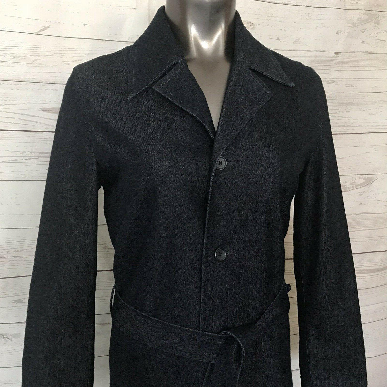 EDDIE BAUER Raw Trench Belted Down Coat Blue Top