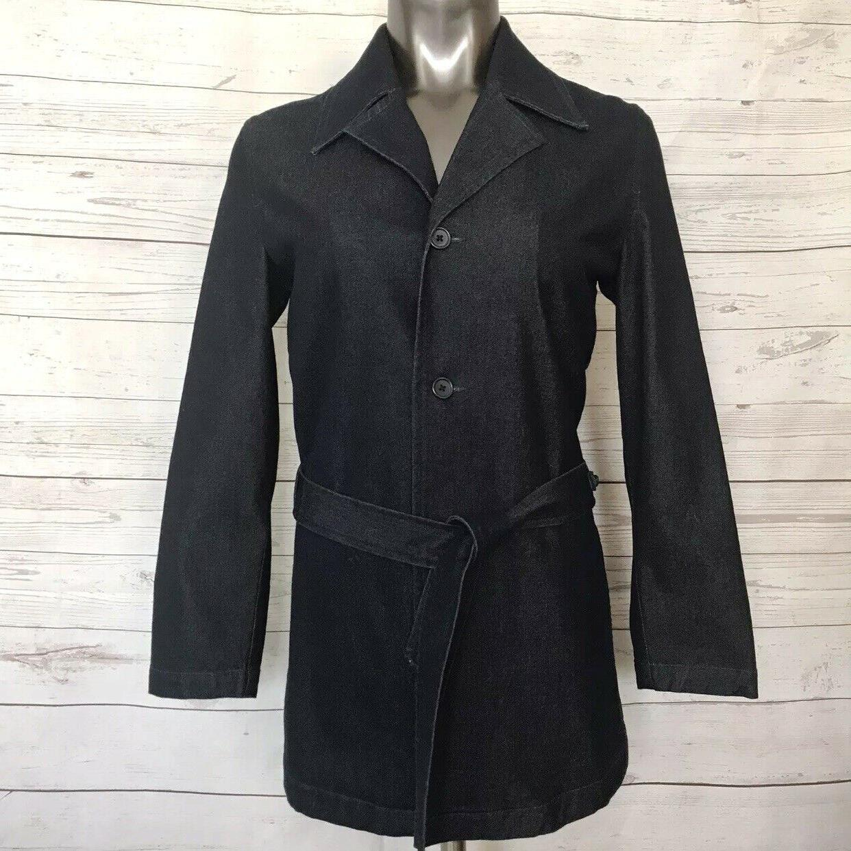 raw denim trench belted jacket button down