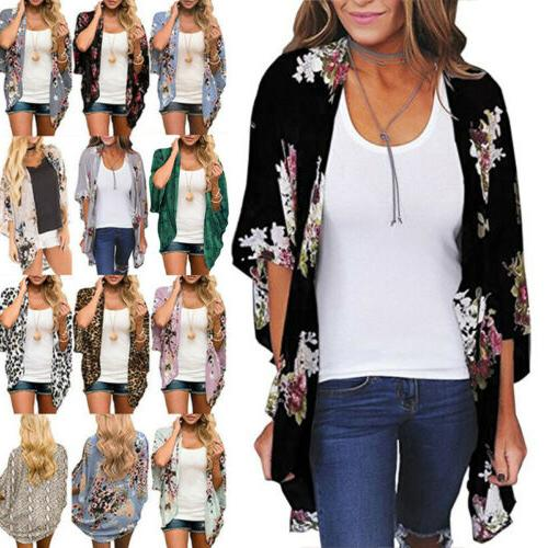 womens floral short sleeve chiffon loose shawl