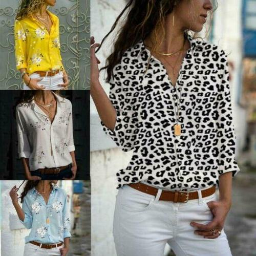 Womens Leopard Print Tees ButtonFront V Slim Casual