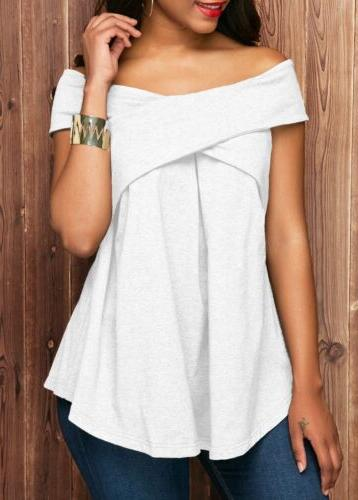 Womens Sexy Short Tops Off Shoulder Blouse