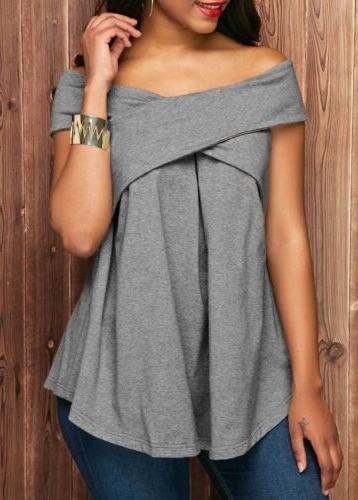 Womens Sexy Boat Short Tunic Tops Shoulder Blouse