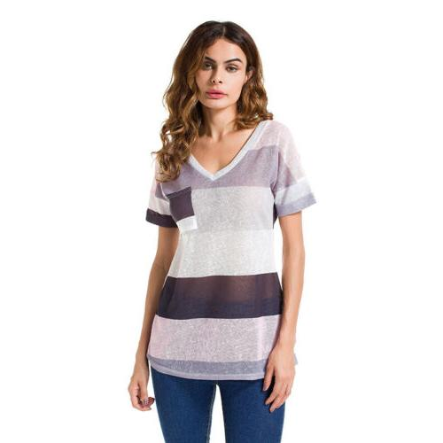 Womens Summer Striped V Neck Blouses Tops Tunic Plus Size