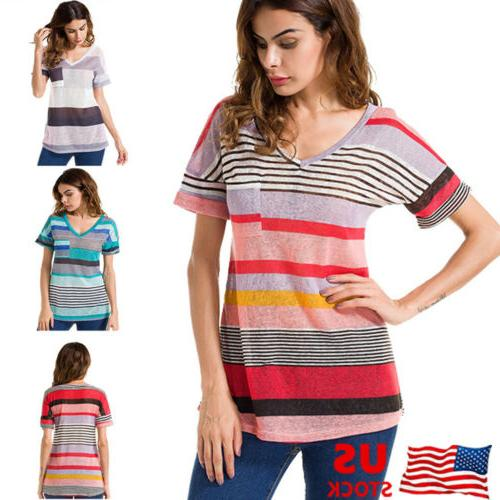 Womens Striped Neck Blouses Loose Tops T Plus Size