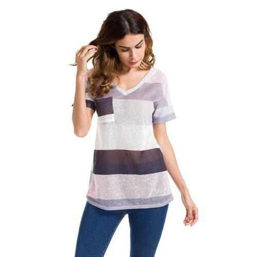 Womens Striped Neck Loose Tops Tunic Plus Size