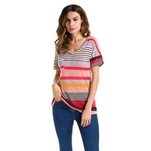 Womens Neck Loose Tops T Shirts Plus