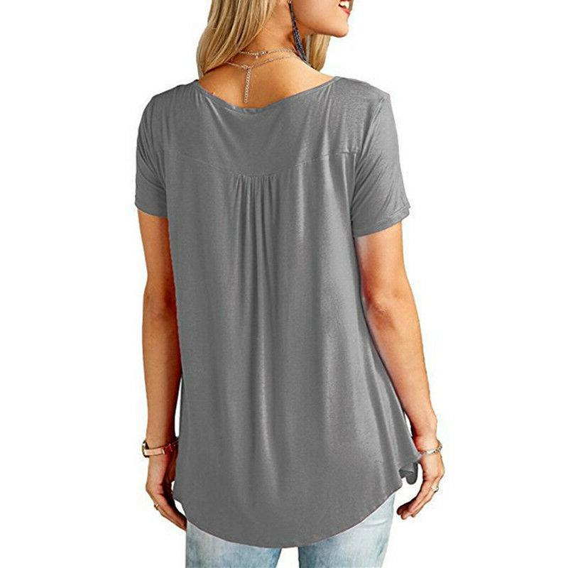 Womens Tunic Tops Plus Casual Loose Tops Blouse Solid T-Shirt