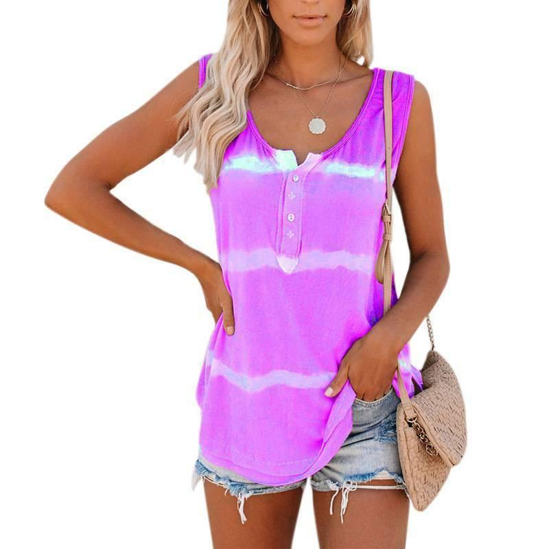 Womens Tie-dye Sleeveless Tops Summer Loose Shirts Tops Blouse Size