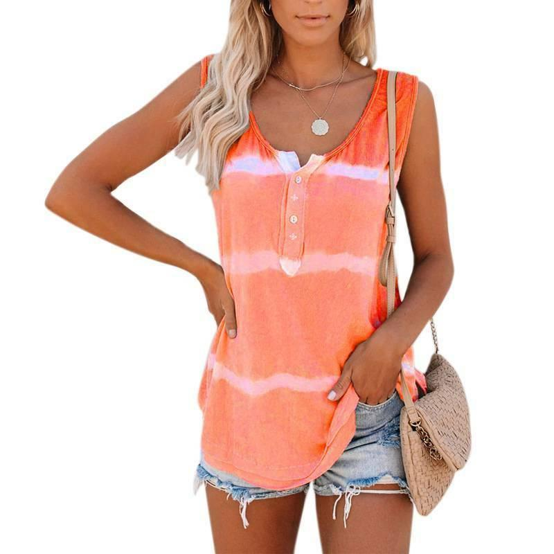 Womens Tie-dye Tops Loose Shirts Tops Blouse Size