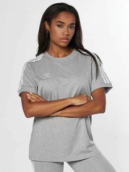 NEW Adidas Women's Originals 3 Stripes Trefoil Grey Tee Shir