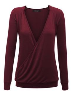 Made By Johnny NEW Womens Long Sleeve Wrap Front Deep V-Neck