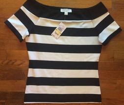 NWT MICHAEL KORS Striped Off-the-Shoulder Top Black White M