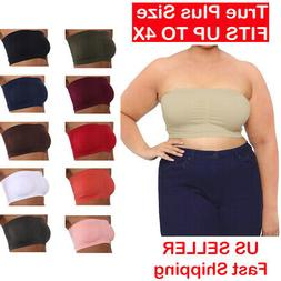 Plus Size Strapless Padded Bandeau Bra Tube Top Layering Que