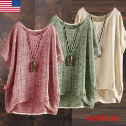 Plus Size Womens Summer Casual Solid Blouses Loose Baggy Top
