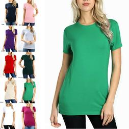 SHORT SLEEVE CREW NECK Basic Women T-Shirt Cotton Long Top F