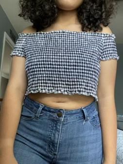 smocked off the shoulder top White/black Checked
