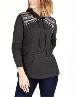 Style&co New 2X Charcoal Gray Embroidered Embellished Sweats