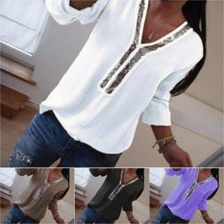 Women Clubwear Sequin V Neck Long Sleeve Tops Casual T Shirt