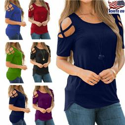 Women Summer Blouse Tops Short Sleeve Solid Plus Size Sexy C
