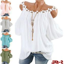 Women Summer Lace Crew Neck Cold Shoulder T Shirt Casual Sol