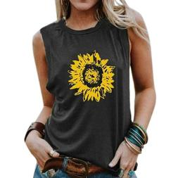 Women Sunflower Sleeveless Vest Vest Tops Summer T-Shirt Tan
