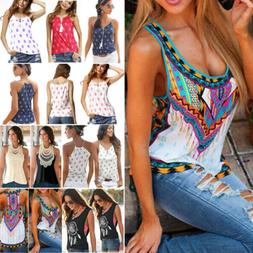 Women Boho Tank Tops Sleeveless Loose Vest Blouse Summer Cas