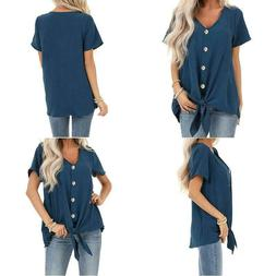 Dokotoo Womens Button Down Front Tie Short Sleeve V Neck Blo