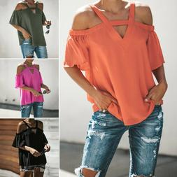 Womens Cold Off Shoulder Tops T Shirt V Neck Short Sleeve Su