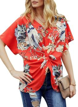 Dokotoo Womens Fashion Floral Blouses Short Sleeve V Neck Tw