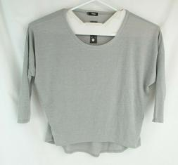 UGET Womens Gray 3/4 Sleeve Stretch Knit Baggy Fit Pullover