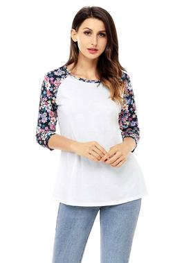 Womens Long Sleeve Floral Print Shirt Casual Blouse Tops Loo