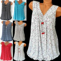 Womens Plus Size Summer Loose Sleeveless Vest T Shirt Blouse