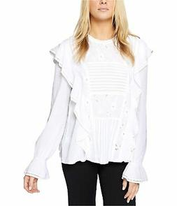 Sanctuary Clothing Womens Ruffled Eyelet Pullover Blouse, Wh