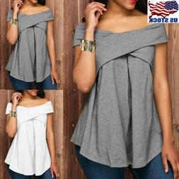 Womens Sexy Boat Neck Short Sleeve T-Shirt Tunic Tops Off Sh