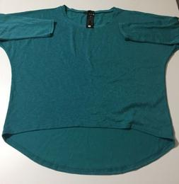 Uget Womens Size Large Blue Green Long Sleeve Blouse Top Shi