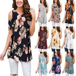 Womens Summer Cold Shoulder Swing Tops Casual Floral T Shirt