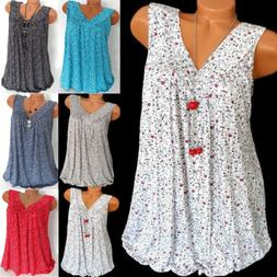 Womens Summer Loose Sleeveless Vest T Shirt Blouse Lady Boho
