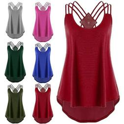 Womens Summer Off Shoulder Strap T Shirt Sleeveless Plus Siz