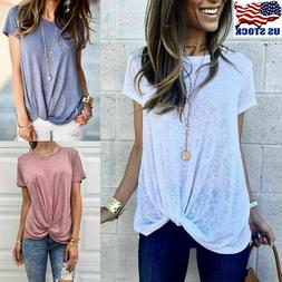 Womens Summer Shirts Cotton Blouse Casual Loose O Neck T-shi