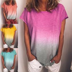 Womens Summer Short Sleeve Gradient Plus Size Casual Beach T