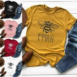 Summer Womens Tops Fashion Happy Bee Printed T Shirt Tee Ani