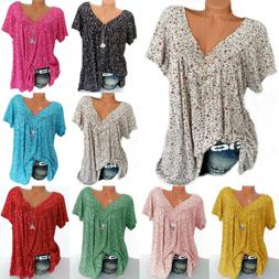 Womens Floral V-Neck Short Sleeve Tunic T-shirt Casual Blous