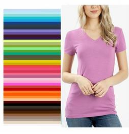 Womens V Neck T Shirt Zenana Short Sleeve Basic Cotton S/M/L