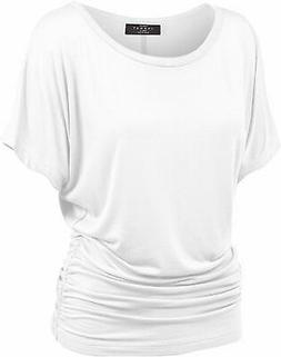 Made By Johnny WT817 Womens Dolman Drape Top with Side, Wt81